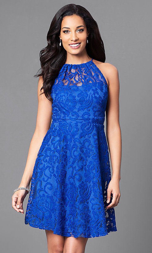 Image of lace high-neck short homecoming party dress. Style: SF-8833 Detail Image 3