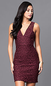 Lace V-Neck Short Dress by BCBGenerations