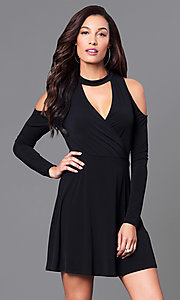 Black Long-Sleeve Short Party Dress