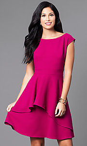 Short Cap-Sleeve Magenta Pink Party Dress