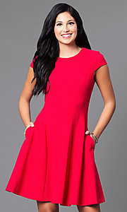 Short Red Cap-Sleeve Holiday Party Dress with Pockets