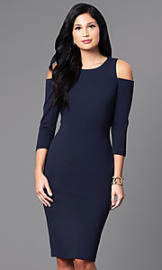 Navy Blue Knee-Length Party Dress with Cold Shoulders