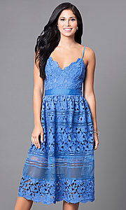 V-Neck Spaghetti Strap Lace Midi Homecoming Dress