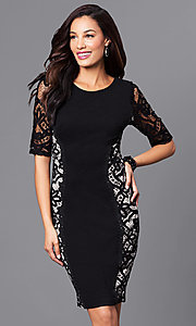 Lace-Embellished Short Party Dress with Short Sleeves