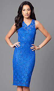 Sleeveless Knee-Length Party Dress with Sequin Lace