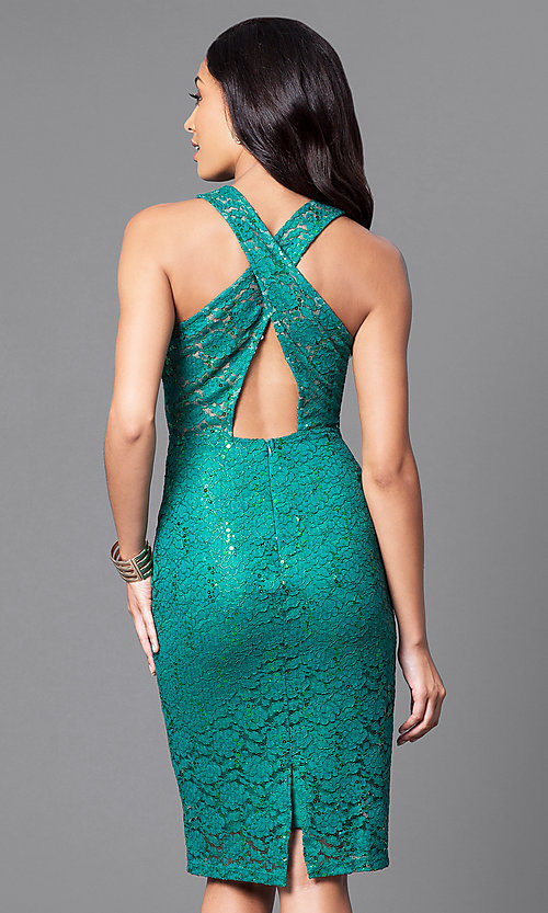 Image of sleeveless knee-length party dress with sequin lace. Style: MB-7094 Back Image