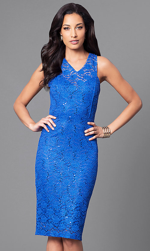 Image of sleeveless knee-length party dress with sequin lace. Style: MB-7094 Front Image
