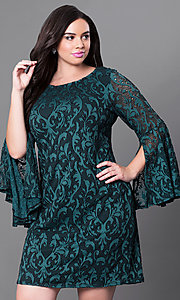 Split Bell-Sleeve Plus Size Short Sheath Party Dress