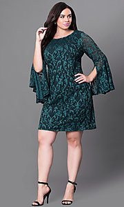 Image of green lace short party dress with bell sleeves. Style: JU-TI-897574 Detail Image 1