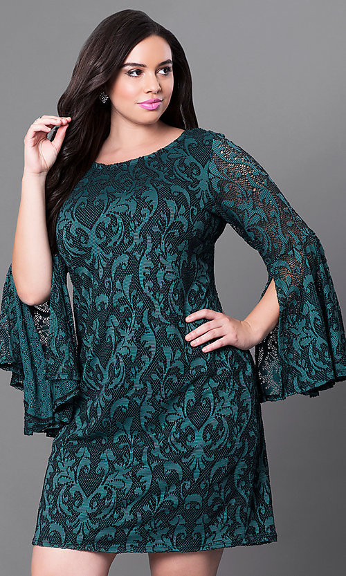 Image of green lace short party dress with bell sleeves. Style: JU-TI-897574 Front Image