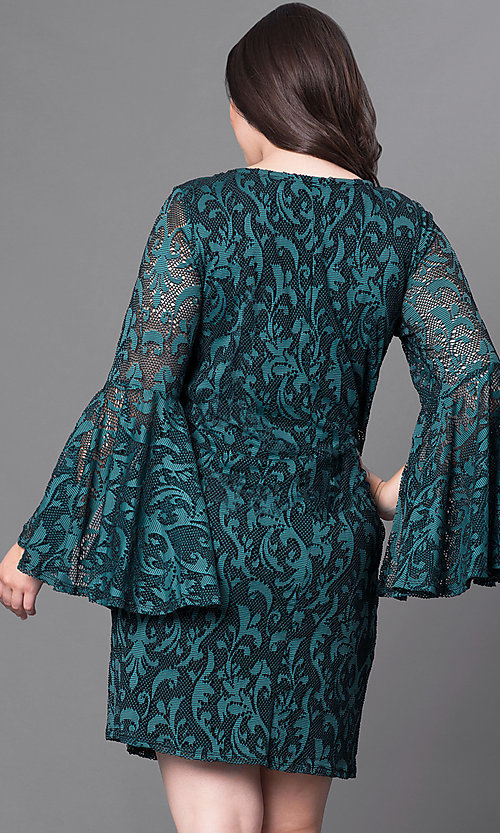 Image of green lace short party dress with bell sleeves. Style: JU-TI-897574 Back Image