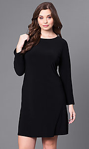 Black Long-Sleeve Short Plus-Size Party Dress