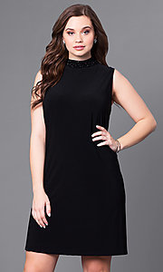 Short Black High-Neck Plus-Size Party Dress