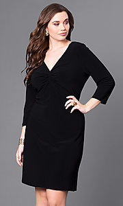 V-Neck Long-Sleeve Short Plus Party Dress