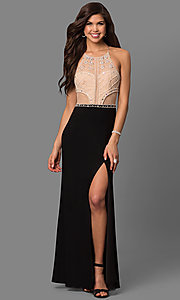 Long Jersey Prom Dress with Bead-Embellished Bodice