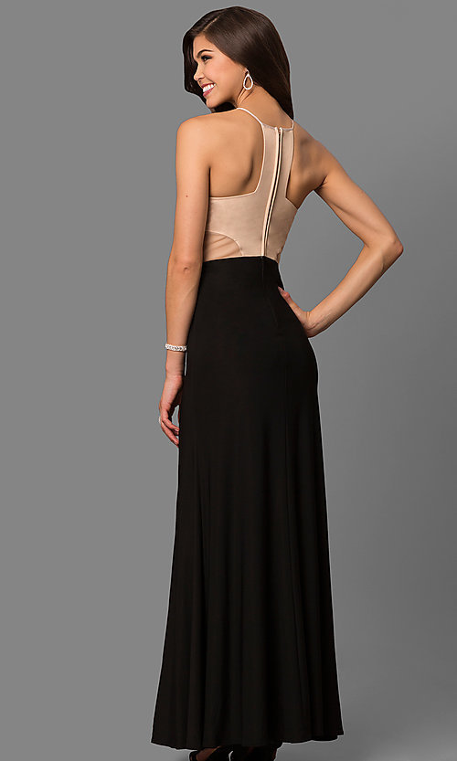 Image of long jersey prom dress with bead-embellished bodice. Style: MQ-3350748 Back Image
