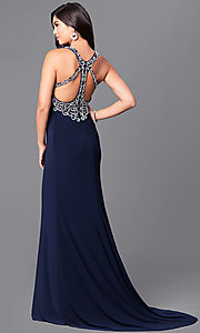 Image of low v-neck prom dress with rhinestone embellishments. Style: MQ-3351116 Back Image