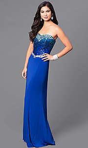 Image of cobalt blue long prom dress with sequined bodice. Style: MQ-7031135 Front Image