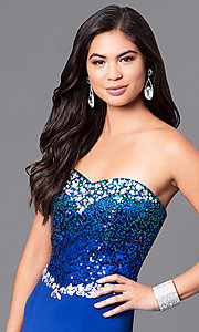 Image of cobalt blue long prom dress with sequined bodice. Style: MQ-7031135 Detail Image 1