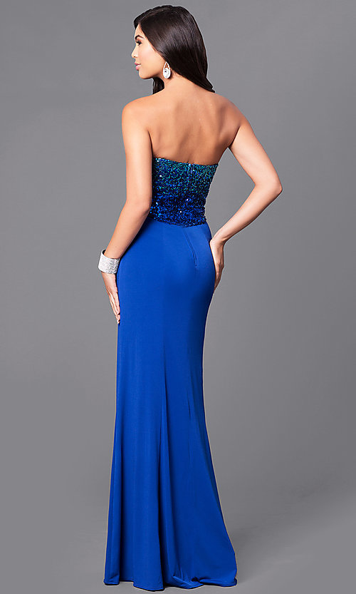 Image of cobalt blue long prom dress with sequined bodice. Style: MQ-7031135 Back Image