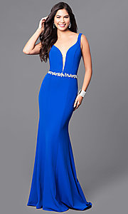 Long Blue Prom Dress with V-neck and Jeweled Waist