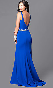 Image of long blue prom dress with v-neck and jeweled waist. Style: MQ-9111122 Back Image
