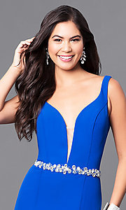 Image of long blue prom dress with v-neck and jeweled waist. Style: MQ-9111122 Detail Image 1
