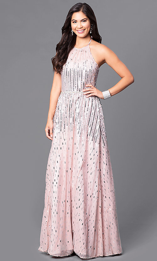 Image of long sequin-adorned prom dress with high-neck halter. Style: MQ-9451196 Front Image