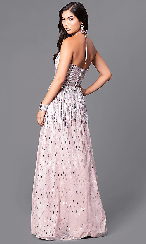 Image of long sequin-adorned prom dress with high-neck halter. Style: MQ-9451196 Back Image