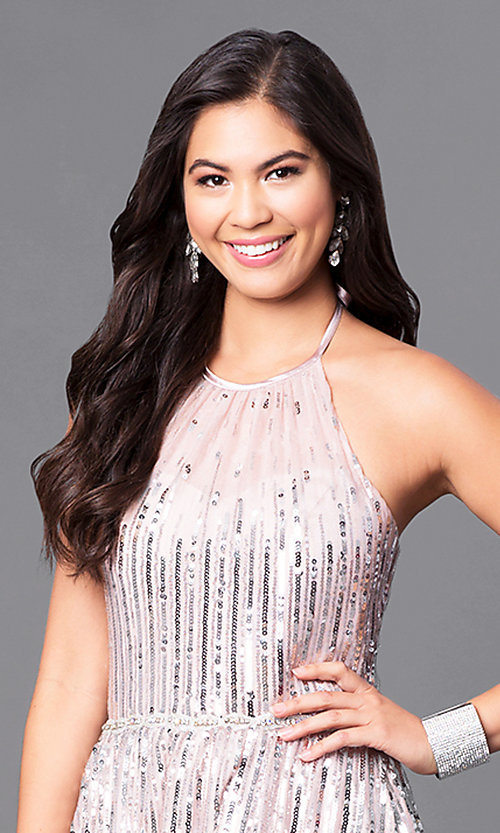 Image of long sequin-adorned prom dress with high-neck halter. Style: MQ-9451196 Detail Image 1