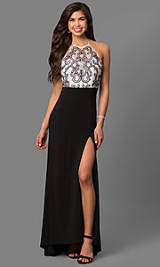 Image of black and white halter prom dress with jewel bodice. Style: MQ-3351120 Front Image