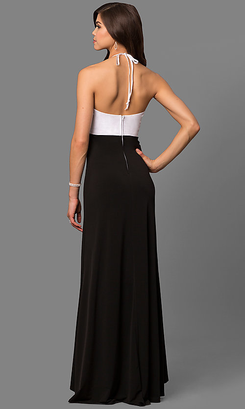 Image of black and white halter prom dress with jewel bodice. Style: MQ-3351120 Back Image