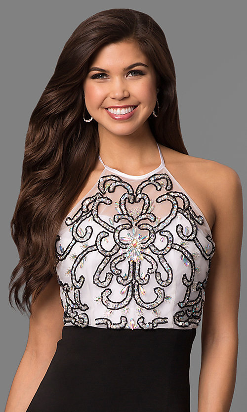 Image of black and white halter prom dress with jewel bodice. Style: MQ-3351120 Detail Image 1