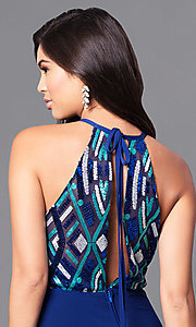 Image of long high-neck blue prom dress with sequin bodice. Style: MQ-9391195 Detail Image 1