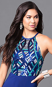 Image of long high-neck blue prom dress with sequin bodice. Style: MQ-9391195 Detail Image 2