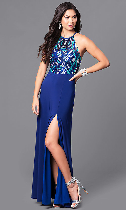 Image of long high-neck blue prom dress with sequin bodice. Style: MQ-9391195 Front Image