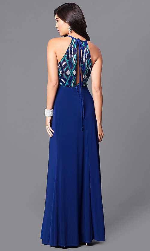 Image of long high-neck blue prom dress with sequin bodice. Style: MQ-9391195 Back Image