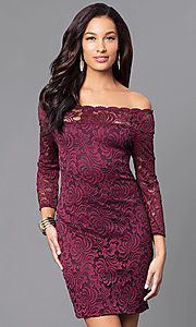 Short Fitted Lace Party Dress with Long Sleeves