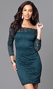Image of short fitted lace party dress with long sleeves. Style: AS-i558029q3 Detail Image 1