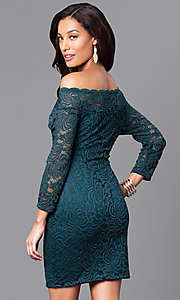 Image of short fitted lace party dress with long sleeves. Style: AS-i558029q3 Back Image