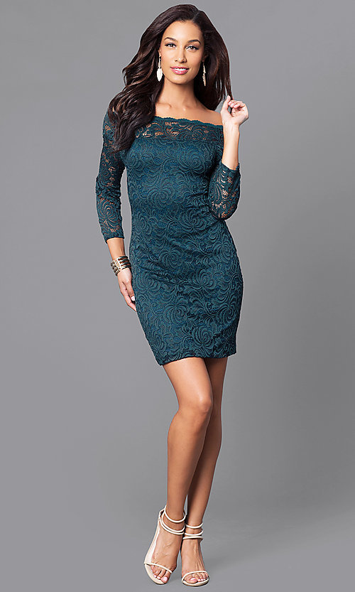 Image of short fitted lace party dress with long sleeves. Style: AS-i558029q3 Detail Image 2