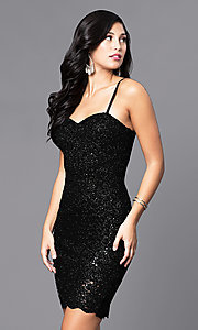Image of short sequined-lace sweetheart holiday party dress. Style: AS-i567329N4 Detail Image 3