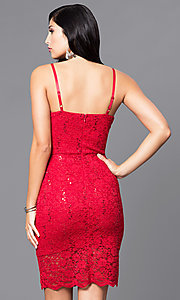 Image of short sequined-lace sweetheart holiday party dress. Style: AS-i567329N4 Back Image