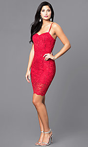 Image of short sequined-lace sweetheart holiday party dress. Style: AS-i567329N4 Detail Image 1