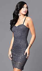 Image of short sequined-lace sweetheart holiday party dress. Style: AS-i567329N4 Detail Image 2
