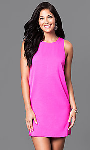 Image of short casual pink shift dress with circle cut outs. Style: VJ-VD31612p Front Image