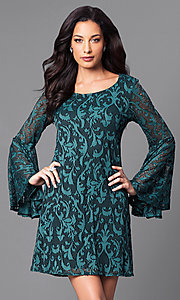 Green Lace Short Dress with Long Bell Sleeves