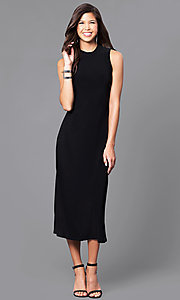 Image of high-neck black tea-length sleeveless party dress.  Style: JU-TI-88461 Front Image