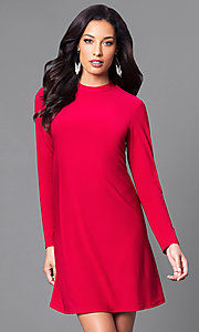 Image of short red casual party dress with long sleeves. Style: JU-TI-89132 Front Image
