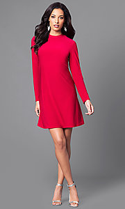 Image of short red casual party dress with long sleeves. Style: JU-TI-89132 Detail Image 1